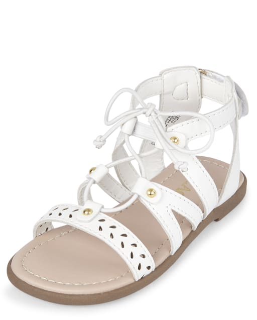 Toddler Girls Easter Laser Cut Studded Faux Leather Lace Up Matching Gladiator Sandals