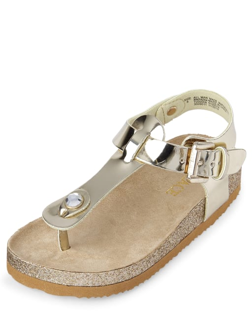 Toddler Girls Glitter And Metallic Matching Faux Patent Leather T-Strap Sandals