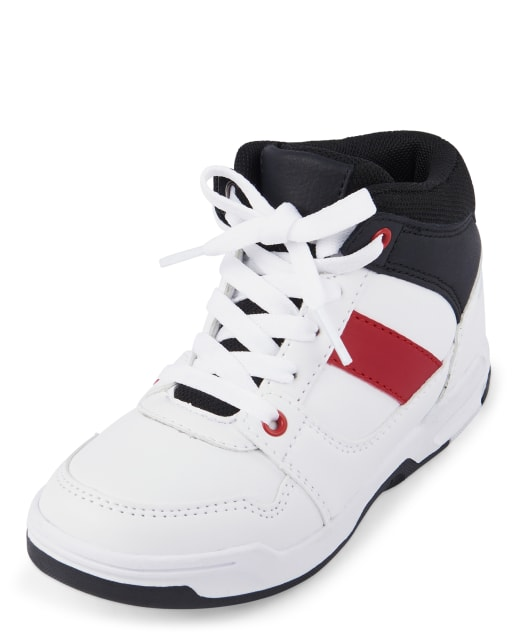 Boys Colorblock Faux Leather Hi Top Sneakers
