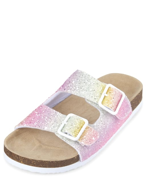 Girls Glitter Rainbow Faux Leather Matching Double Strap Sandals