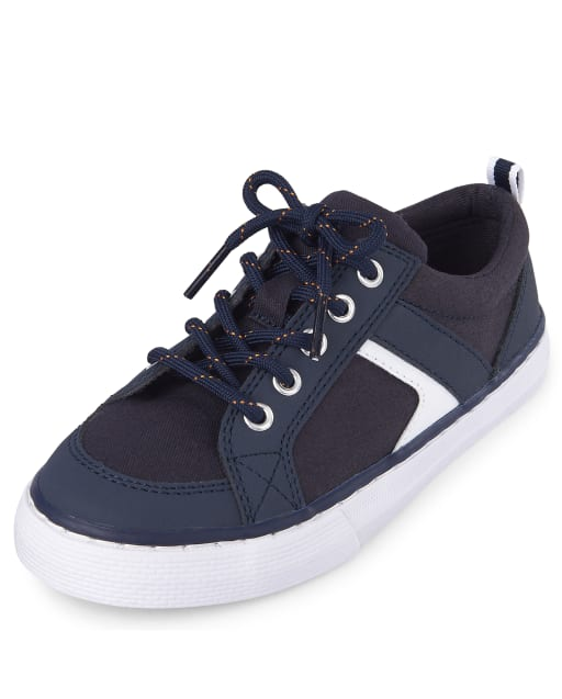 Boys Lace Up Faux Leather Low Top Sneakers