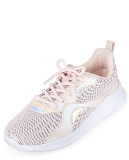 Girls Iridescent Glitter Mesh Running Sneakers