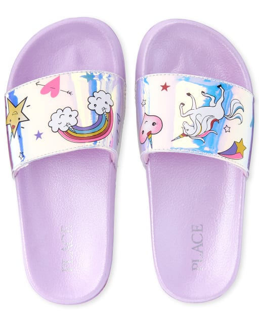 Girls Holographic Rainbow Faux Patent Leather Matching Slides