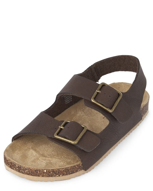 Boys Matching Faux Leather Double Strap Sandals