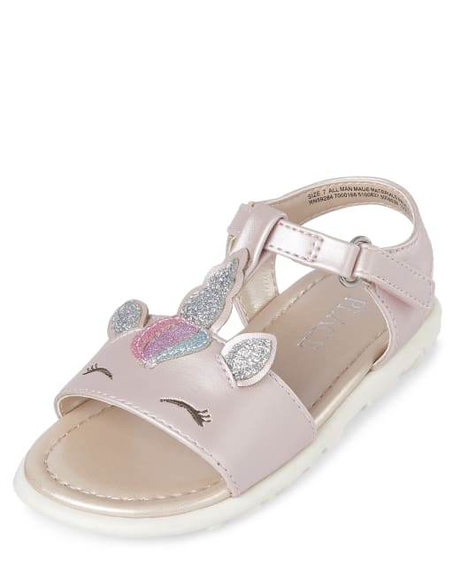 Toddler Girls Glitter Unicorn Faux Leather T-Strap Sandals