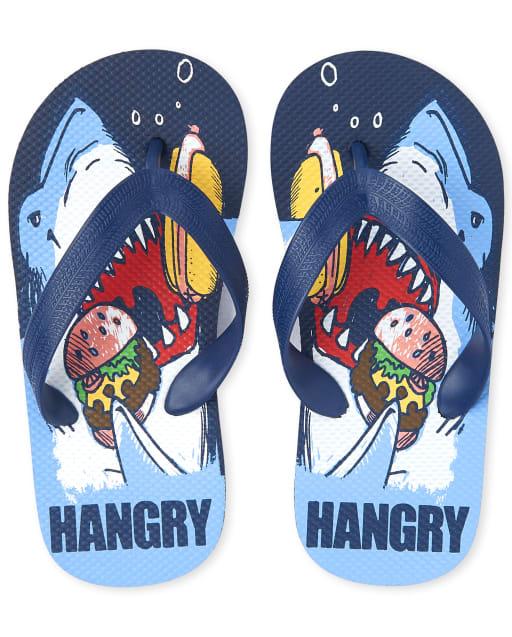 Boys 'Hangry' Shark Flip Flops