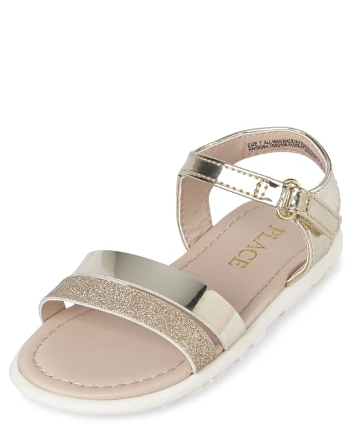 Toddler Girls Glitter And Metallic Faux Patent Leather Matching Sandals
