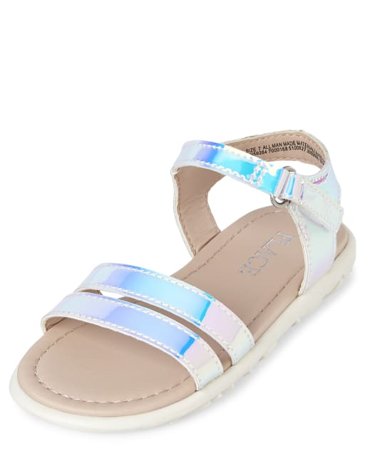 Toddler Girls Iridescent Cross Strap Faux Patent Leather Sandals