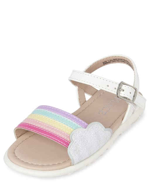 Toddler Girls Glitter Rainbow Faux Patent Leather Sandals