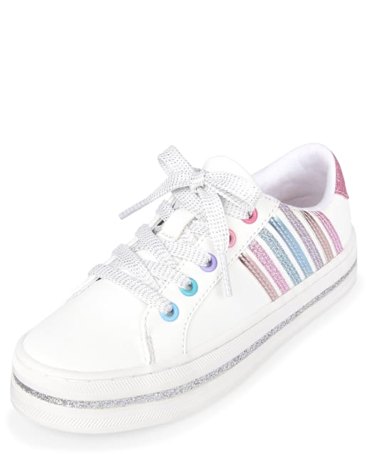 Girls Glitter Striped Faux Leather Low Top Sneakers