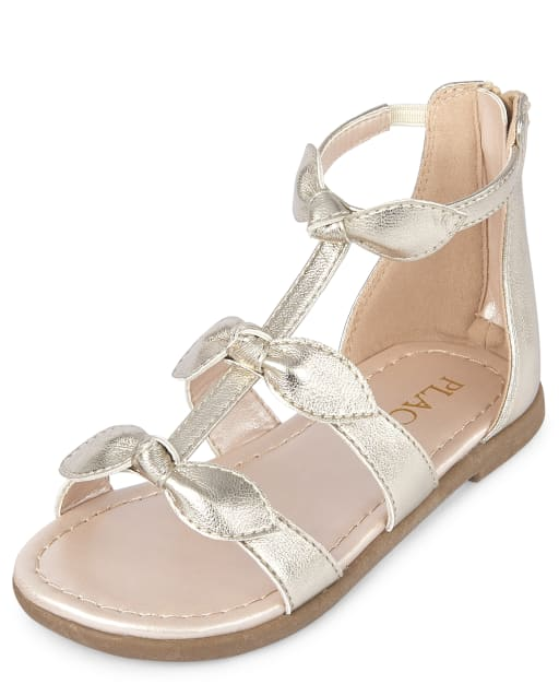 Toddler Girls Easter Metallic Bow Faux Leather Matching Gladiator Sandals
