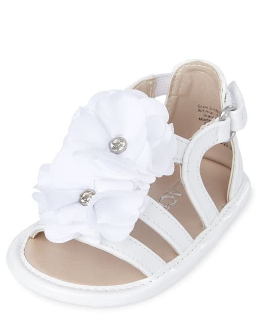 Baby Girls Easter Flower Faux Patent Leather Matching Gladiator Sandals