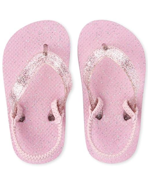 Toddler Girls Glitter Matching Flip Flops