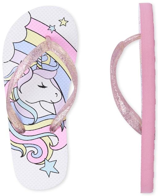 Girls Unicorn Matching Flip Flops