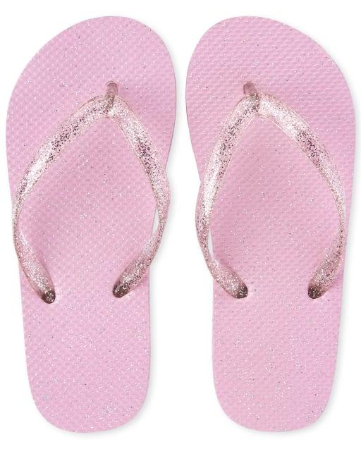 Girls Glitter Matching Flip Flops