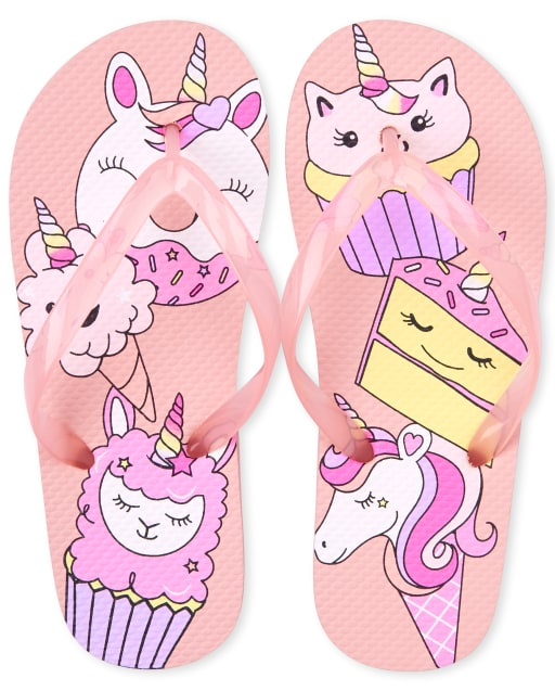Girls Unicorn And Dessert Matching Flip Flops