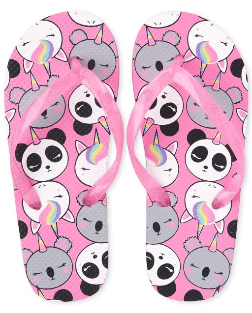 Girls Unicorn Pandacorn And Koalacorn Flip Flops