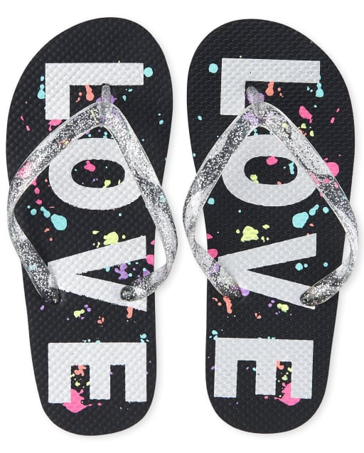 Girls Glitter 'Love' Paint Splatter Flip Flops