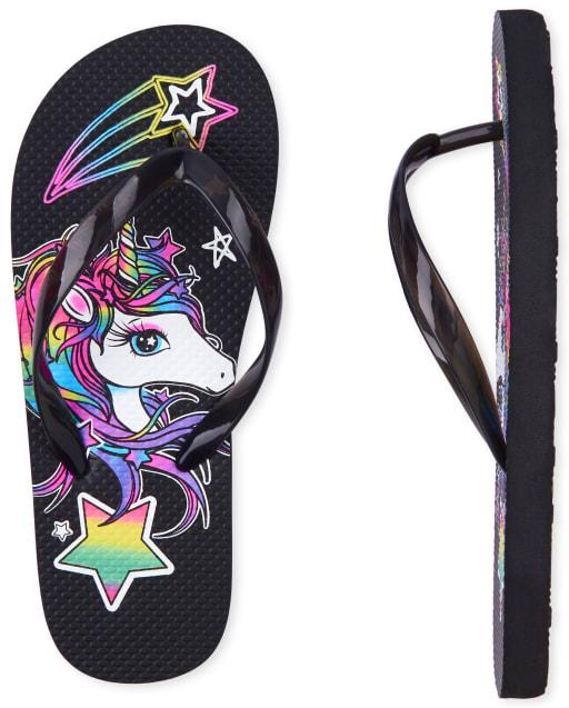Girls Rainbow Unicorn Flip Flops