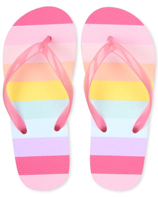 Girls Rainbow Striped Matching Flip Flops