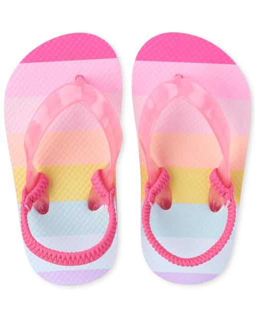 Toddler Girls Rainbow Striped Matching Flip Flops