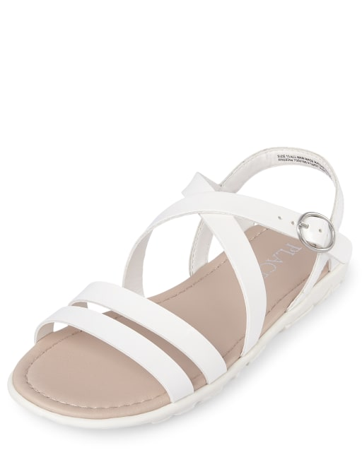 Girls Matching Cross Strap Faux Patent Leather Sandals