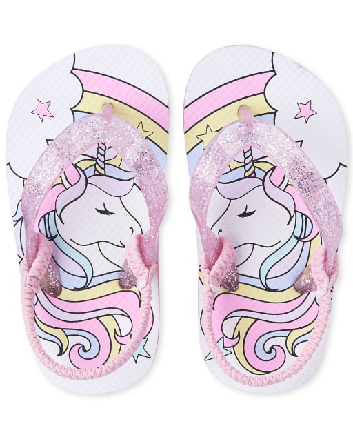 Toddler Girls Unicorn Matching Flip Flops