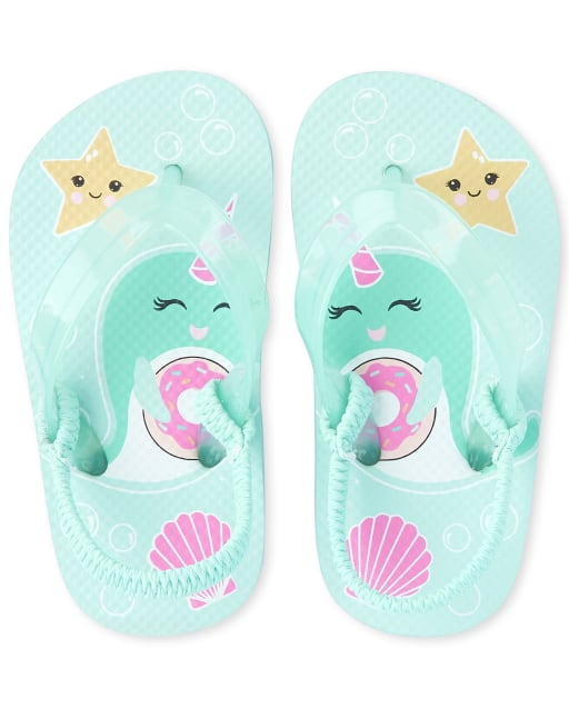 Toddler Girls Narwhal Matching Flip Flops