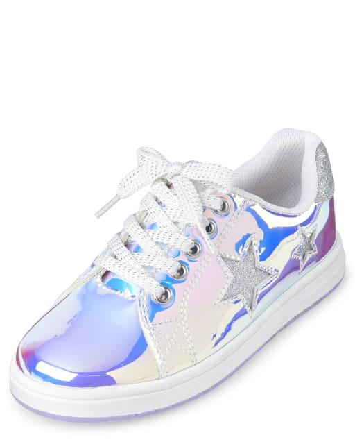 Girls Glitter Star Holographic Lace Up Faux Patent Leather Low Top Sneakers