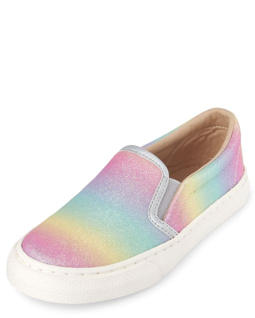 Girls Glitter Rainbow Faux Leather Matching Slip On Sneakers