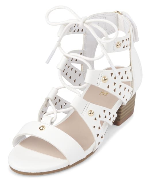 Girls Easter Laser Cut And Studded Faux Leather Lace Up Low Heel Sandals