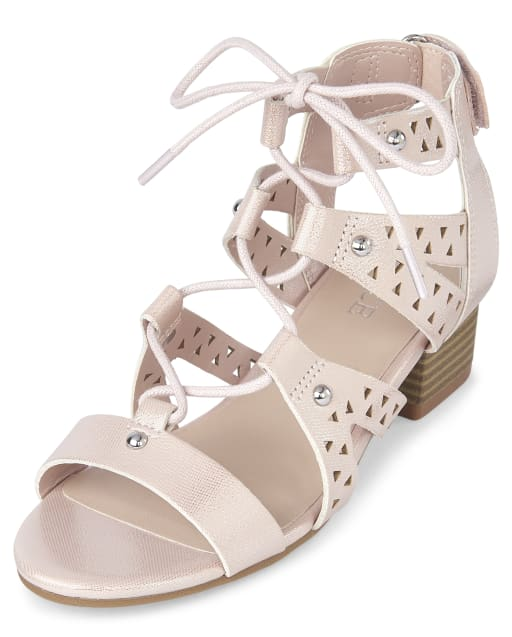 Girls Easter Metallic Laser Cut Studded Lace Up Faux Leather Low Heel Sandals