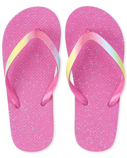 Girls Glitter Rainbow Matching Flip Flops