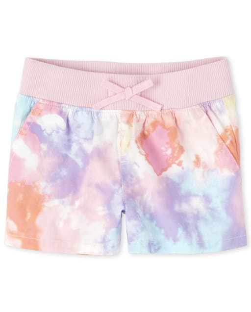 Girls Tie Dye Knit Waistband Woven Pull On Shorts