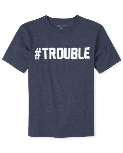 Boys Dad And Me Short Sleeve 'Hashtag Trouble' Matching Graphic Tee