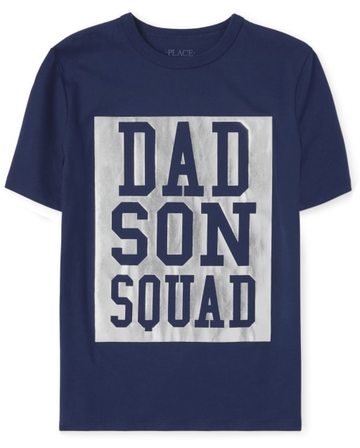 Boys Matching Family Short Sleeve Foil 'Dad Son Squad' Graphic Tee