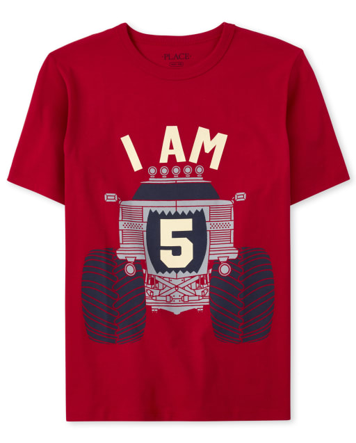 Boys Birthday Short Sleeve 'I Am 5' Monster Truck Graphic Tee
