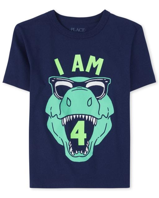 Boys Birthday Short Sleeve 'I Am 4' Dino Graphic Tee