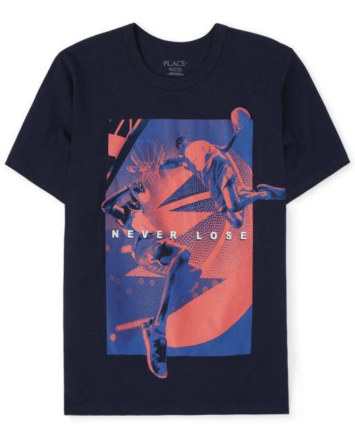 Boys Short Sleeve 'Never Lose' Basketball Graphic Tee