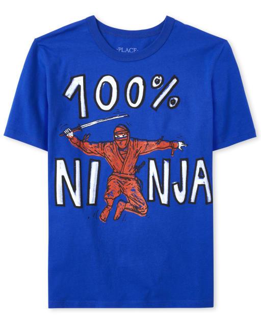 Boys Short Sleeve '100 Percent Ninja' Graphic Tee
