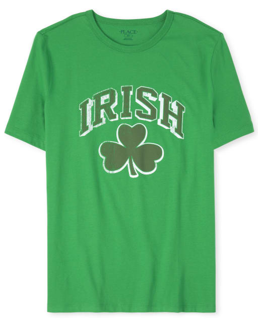 Mens Matching Family St. Patrick's Day Short Sleeve 'Irish' Shamrock Graphic Tee