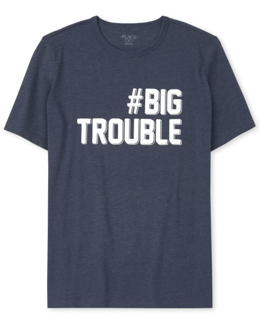 Mens Dad And Me Short Sleeve 'Hashtag Big Trouble' Matching Graphic Tee