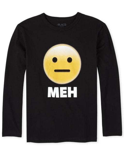 Boys Long Sleeve 'Meh' Emoji Graphic Tee