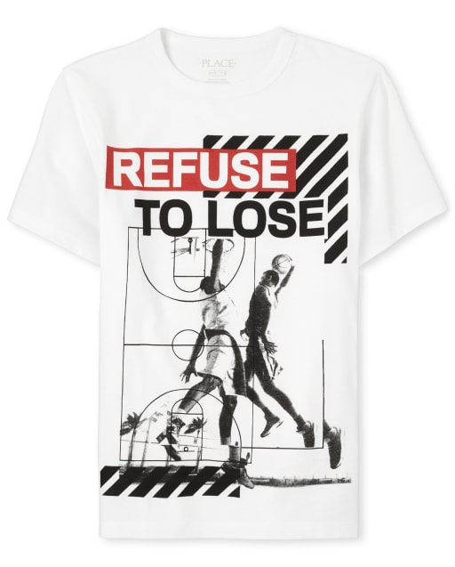 Boys Short Sleeve 'Refuse To Lose' Basketball Graphic Tee