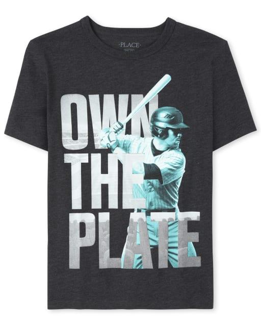 Boys Short Sleeve 'Own The Plate' Baseball Graphic Tee