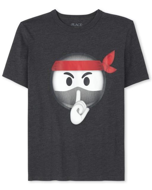 Boys Short Sleeve Ninja Emoji Graphic Tee