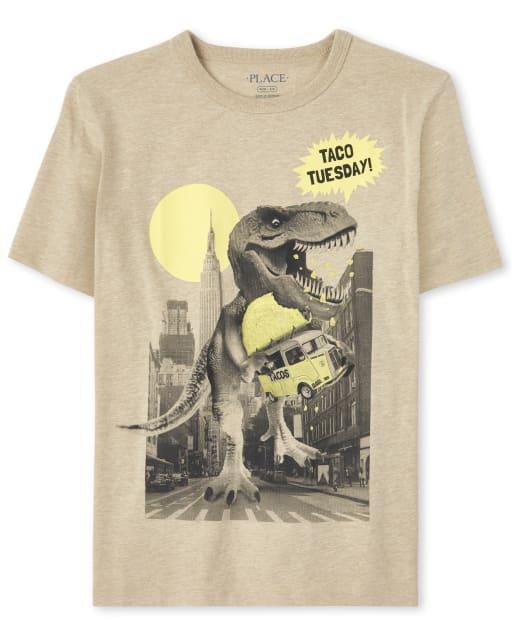 Boys Short Sleeve 'Taco' City Dino Graphic Tee
