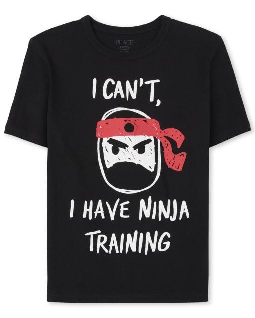 Boys Short Sleeve 'I Can't I Have Ninja Training' Graphic Tee
