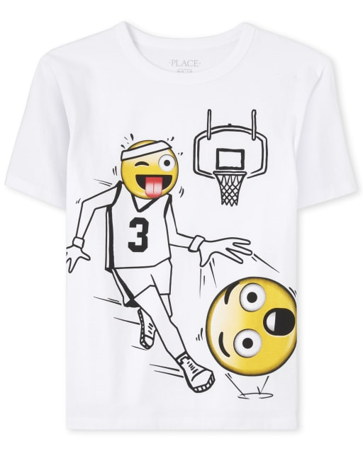 Boys Short Sleeve Basketball Emoji Graphic Tee