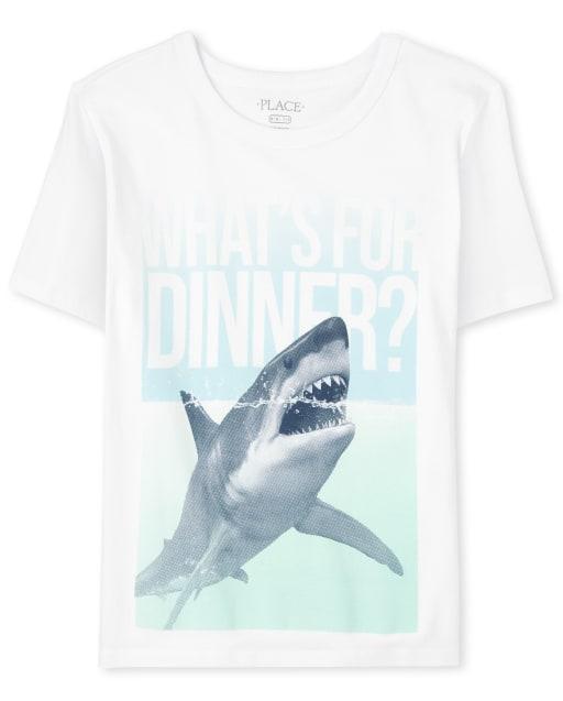 Boys Short Sleeve 'What's For Dinner' Shark Graphic Tee
